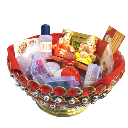Attractive Puja Kit (Basket) for Diwali