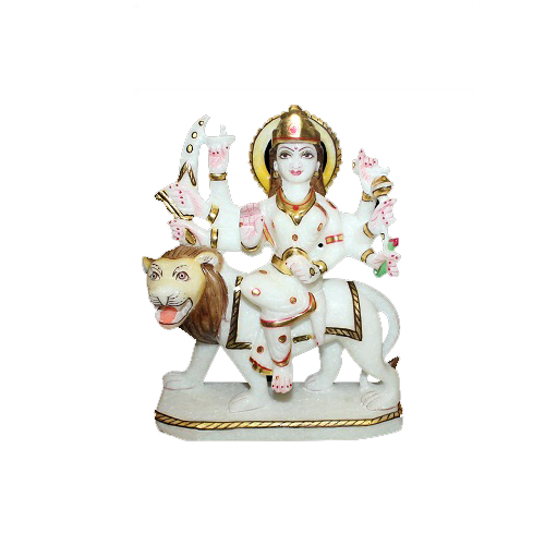 Maa Durga On Lion Idol In Marble
