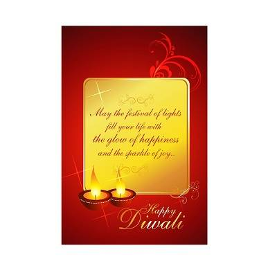 Beautifull�Red And Gold Framed Wishes Diwali Poster