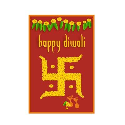 Beautifull Red And Yellow Swastik Pattern Flowers Diwali Poster