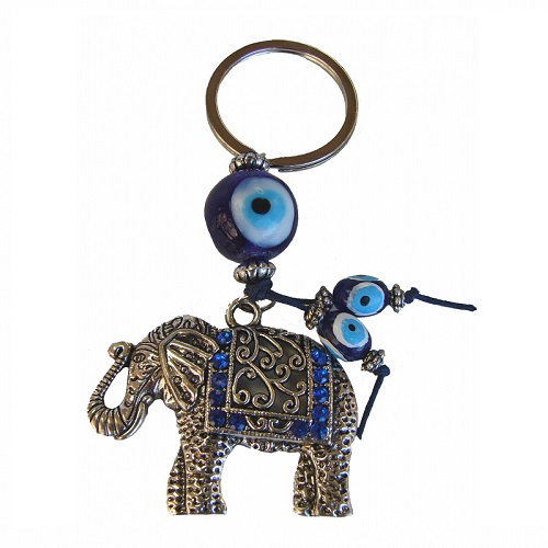 Evil Eye Key Chain With Elephant
