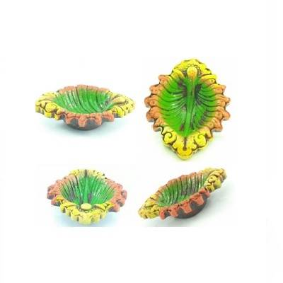 beautiful Oval shape small Leaf Puja Decor Diwali Special Diye with colorful?