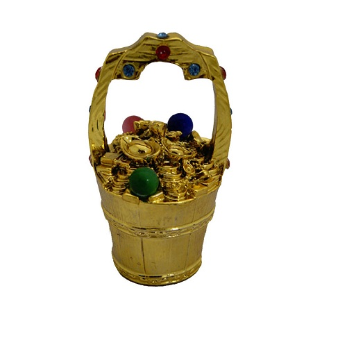 Feng Shui Golden Colourful Wealth Bucket