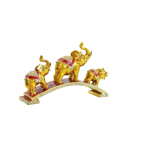 Fengshui Set of 3 Bejeweled Elephant