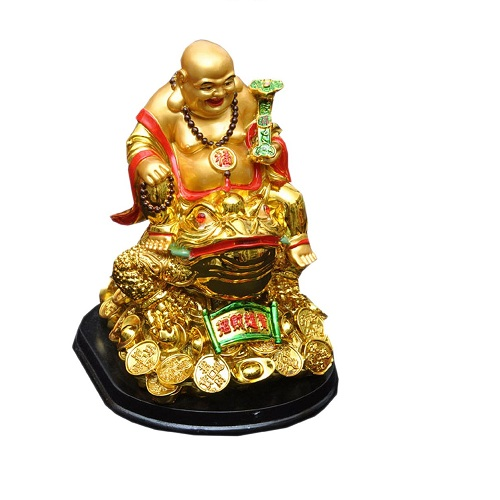 Golden Laughing Buddha On Feng Shui Money Frog