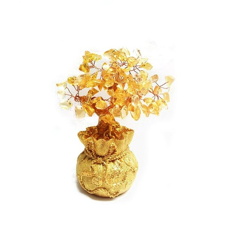 Yellow Crystal Money Tree in Money Bag