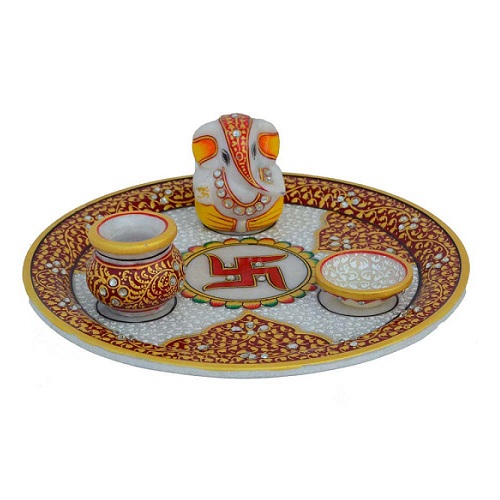 Marble Puja Thali with Lord Ganesha