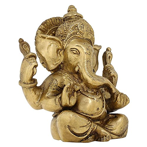 Brass Sitting Ganesh Idol for Ganesh Chaturthi