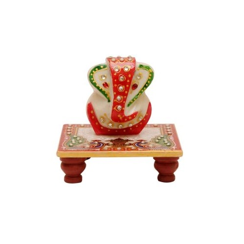 Ganesh Marble Chowki Small for Ganesh Chaturthi