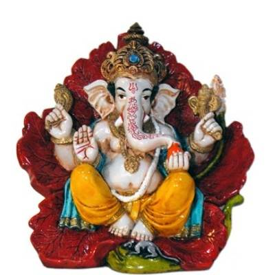 Vastu Fangshui Religious Idol of Lord Ganesh Seating on Hibiscus Flower Statue Showpiece