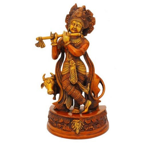 Krishna With Cow Red On Base