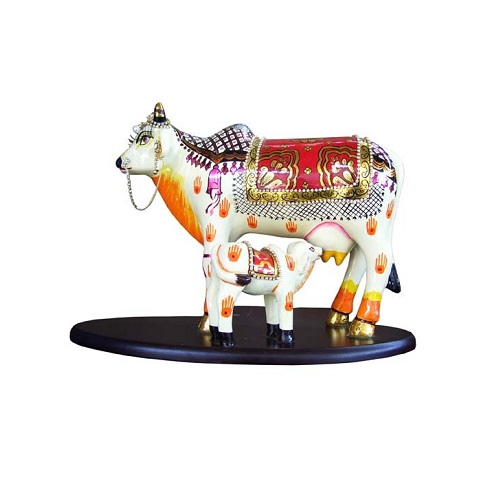 Multicolor Kamdhenu Cow With Calf White Finish