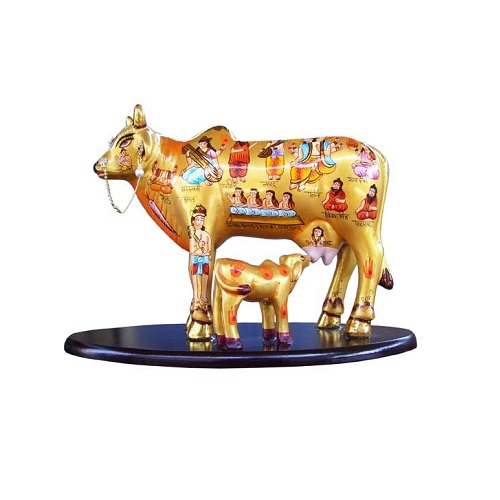 Multicolor Kamdhenu Cow and Calf with Stand