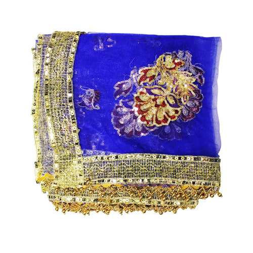 Light Blue Net Mata Ki Chunri For Navratri