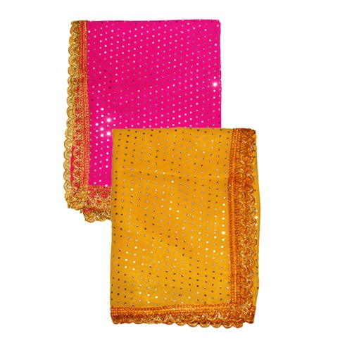 Mata Ki Chnunri Pink and Yellow Set of 2 For Navratri