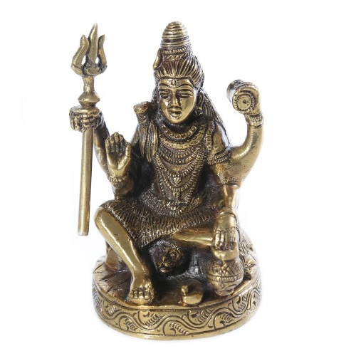 Brown Brass Sitting Shiva Idol